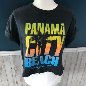 VTG Panama City Beach T-shirt Cropped Upcycled